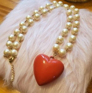 Forever 21❤ Red Heart and Pearl Necklace